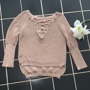 Sweaters - NWOT tan sexy V-neck cropped sweater, size M